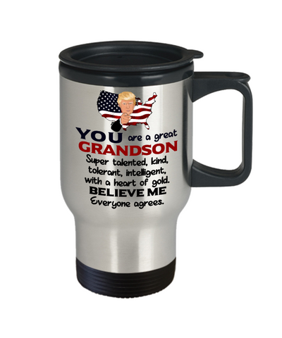 Funny Grandson Trump Travel Mug Gift Heart of Gold Novelty Coffee Cup