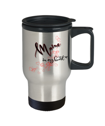 Image of State of Maine in My Heart Travel Mug With Lid Unique Novelty Birthday Christmas Gifts Coffee Tea Cup