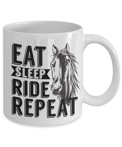 Eat Sleep Ride Repeat Horse Addict Mug Gift Equine Lover Novelty Coffee Cup