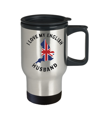 Image of I Love My English Husband Travel Mug With Lid Novelty Birthday Gift Coffee Cup