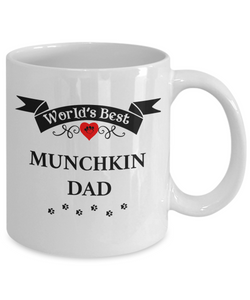 World's Best Munchkin Dad Cup Unique Cat Ceramic Coffee Mug Gifts for Men