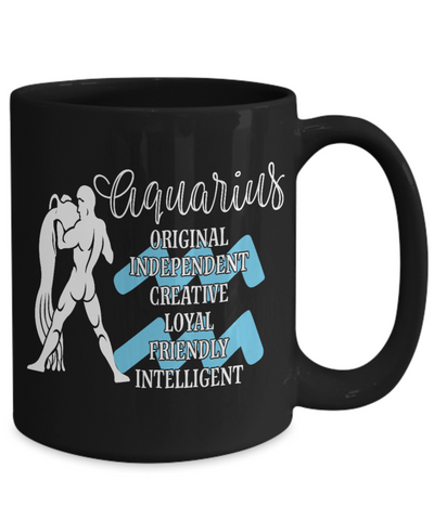 Aquarius Zodiac Black Mug Gift Fun Novelty Birthday Coffee Cup