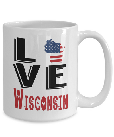 Image of Love Wisconsin State Mug Gift Novelty American Keepsake Coffee Cup