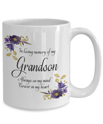 Image of In Loving Memory Grandson Mug Sympathy Gift Remembrance Memorial Coffee Cup