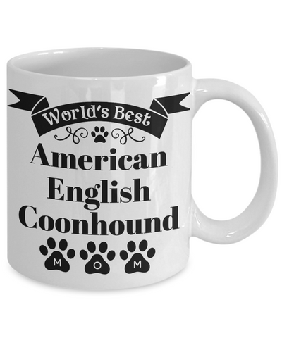 Image of World's Best American English Coonhound Dog Mom Mug Fun Novelty Birthday Gift Work Coffee Cup