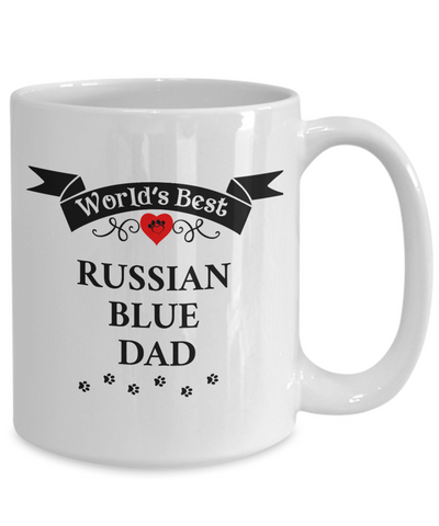 Image of World's Best Russian Blue Dad Cup Unique Cat Ceramic Coffee Mug Gifts for Men