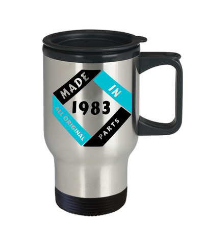 Image of Made in 1983 Birthday Travel Mug Gift Fun All Original Parts Unique Novelty Celebration