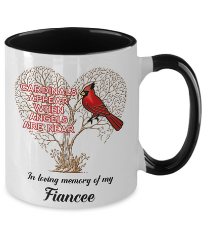 Fiancee Cardinal Memorial Coffee Mug Angels Appear Keepsake Two-Tone Cup