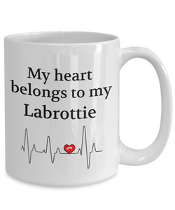 My Heart Belongs to My Labrottie Mug Dog Lover Novelty Birthday Gifts Unique Work Ceramic Coffee Gifts for Men Women