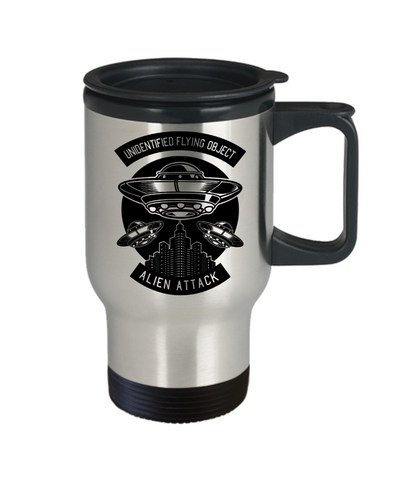 Image of Alien Attack Travel Mug With Lid Unidentified Flying Object Novelty Birthday Christmas Gifts UFO Coffee Cup