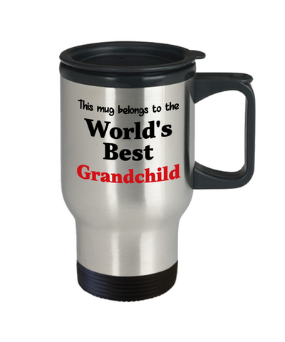 Image of World's Best Grandchild Family Insulated Travel Mug With Lid Gift Novelty Birthday Thank You Appreciation Coffee Cup