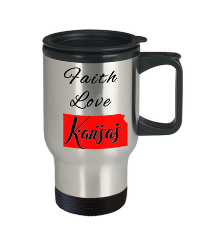 Image of Patriotic USA Gift Travel Mug With Lid Faith Love Kansas Unique Novelty Birthday Christmas Ceramic Coffee Tea Cup