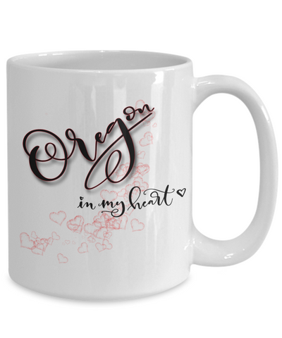 Image of State of Oregon in My Heart Mug Patriotic USA Unique Novelty Birthday Christmas Gifts Ceramic Coffee Tea Cup