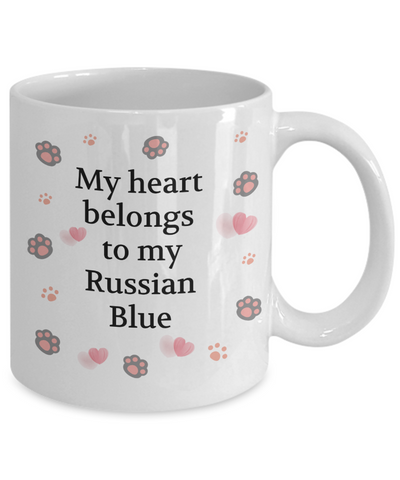 Image of My Heart Belongs to My Russian Blue Mug Cat Unique Novelty Coffee Cup Gifts v2