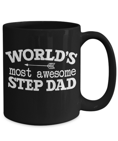 Awesome Step Dad Black Mug Gift Novelty Birthday Appreciation Coffee Cup