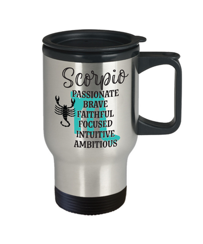Image of Scorpio Zodiac Travel Mug Gift Fun Novelty Birthday Coffee Cup