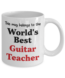 World's Best Guitar Teacher Mug Occupational Gift Novelty Birthday Thank You Appreciation Ceramic Coffee Cup