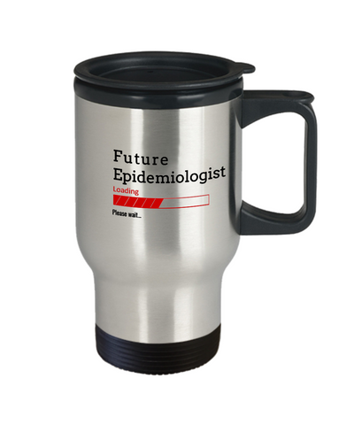 Image of Funny Future Epidemiologist Loading Please Wait Coffee Travel Mug With Lid Doctors In Training Gifts for Men and Women