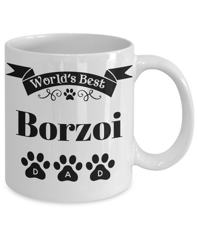 Image of World's Best Borzoi Dog Dad Mug Fun Novelty Birthday Gift Work Coffee Cup