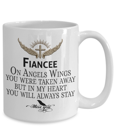 Fiancee Angel Wings In Loving Memory Mug Gift Memorial Coffee Cup