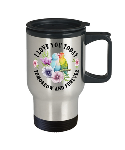 Image of I Love You Lovebird Travel Mug Gift Novelty Birthday Christmas Valentine's Day Coffee Cup