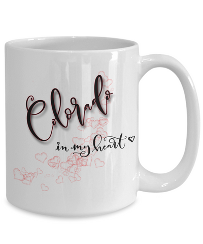 Image of State of Colorado in My Heart Mug Patriotic USA Unique Novelty Birthday Christmas Gifts Ceramic Coffee Tea Cup