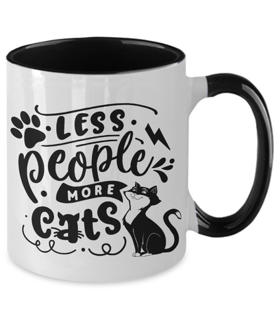 Less People More Cats Mug Cat Lover Ceramic Two Tone Coffee Cup