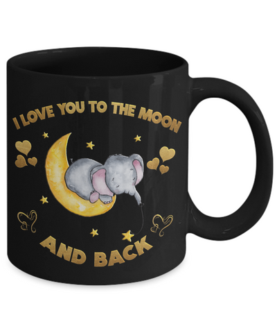 I Love You to the Moon and Back Elephant Black Mug Gift Love You Surprise Valentine's Day Cup