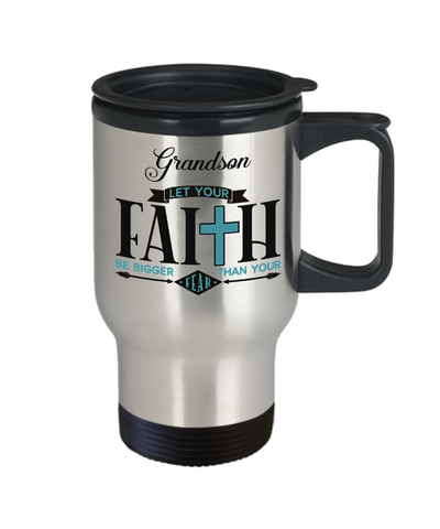 Image of Grandson Faith Bigger Than Fear Travel Mug Gift Inspirational Coffee Cup