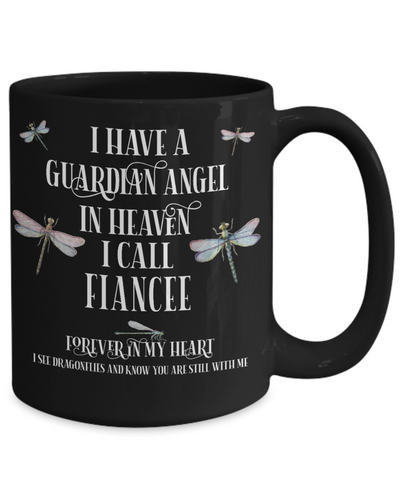 Fiancee Dragonfly Memorial Black Mug Gift Guardian Angel In Loving Memory Keepsake Cup