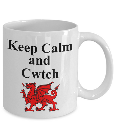 Keep Calm and Cwtch Mug Welsh Hug or Cuddle Wales Gift Ceramic Coffee Tea Cup