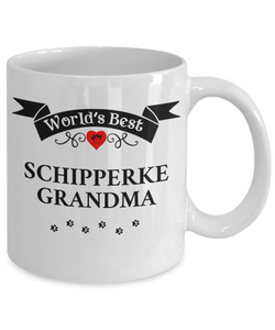 World's Best Schipperke Grandma Cup Unique Ceramic Dog Coffee Mug Gifts for Women