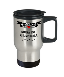 World's Best Shiba Inu Grandma Dog Cup Unique Travel Coffee Mug With Lid Gift