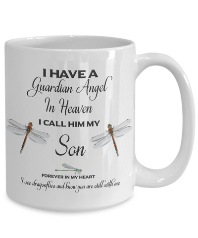 Son Memorial Dragonfly Mug Gift In Loving Memory Coffee Cup