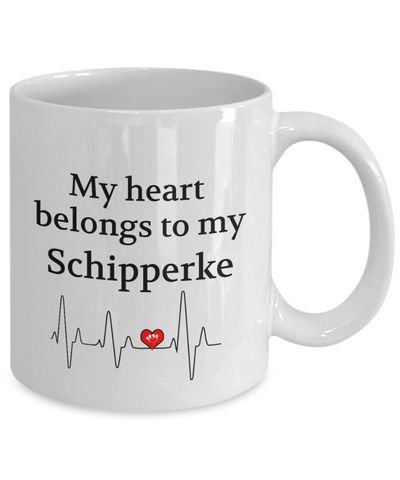 Image of My Heart Belongs to My Schipperke Mug Dog Lover Novelty Birthday Gifts Unique mug ideas