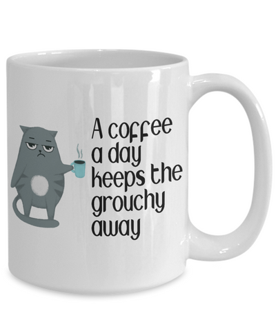 A Coffee a Day Keeps the Grouchy Away Cat Mug Gift Addicted to Caffeine Lover Cup