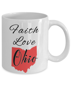 Patriotic USA Gift Mug Faith Love Ohio Unique Novelty Birthday Christmas Ceramic Coffee Tea Cup