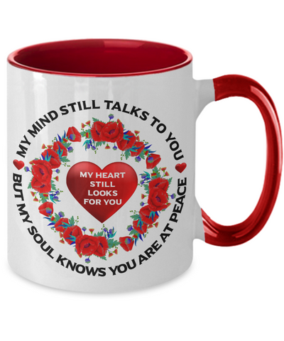 Image of Poppy Loving Memory Mug My Mind Still Talks You My Soul Knows You're at Peace Sympathy Keepsake