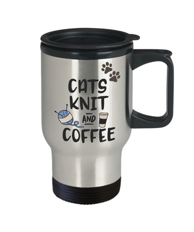 Image of Cats Knit and Coffee Travel Mug Gift for Feline Moms and Knitters Novelty Cup
