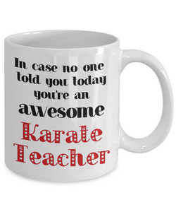 Karate Teacher Occupation Mug In Case No One Told You Today You're Awesome Unique Novelty Appreciation Gifts Ceramic Coffee Cup