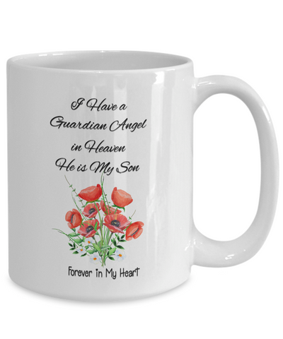 "Image of Guardian Angel Gift , ""I Have a Guardian Angel in Heaven, He is My Son"" remembrance mug"