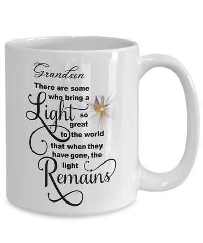 Grandson Memorial Some Bring a Light So Great It Remains Mug Gift In Loving Memory Cup