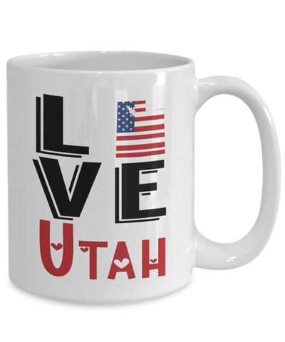 Image of Love Utah State Mug Gift Novelty American Keepsake Coffee Cup