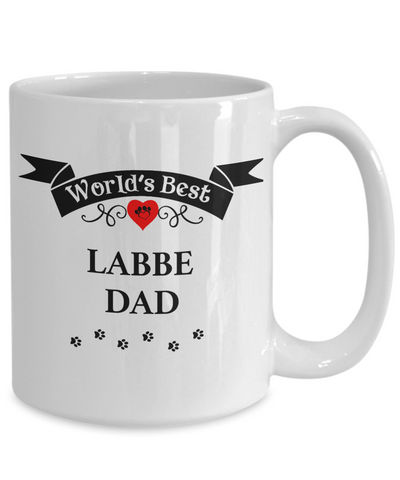 Image of World's Best Labbe Dad Cup Unique Dog Ceramic Coffee Mug Gifts for Men