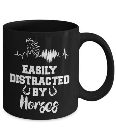Easily Distracted By Horses Black Mug Gift Equine Lover Novelty Coffee Cup