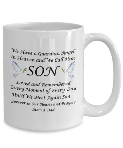 Image of Gift for Bereaved Mom & Dad Guardian Angel in Heaven We Call Him Son...Remembrance Gift