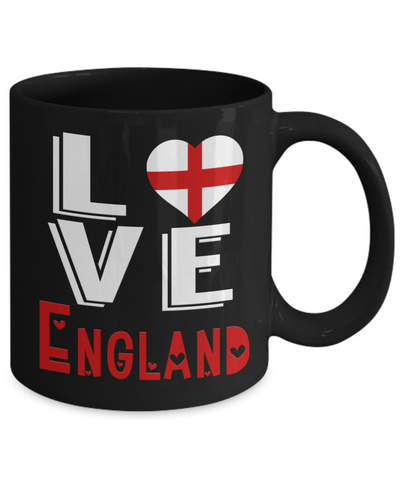 Love England Black Mug Gift Novelty English Keepsake Coffee Cup