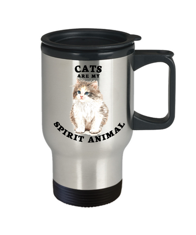Cats Are My Spirit Animal Travel Mug With Lid Coffee Cup