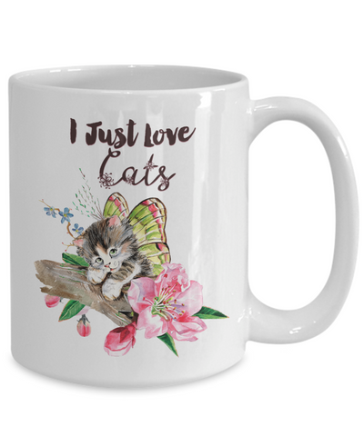 "Beautiful Flying Kitten Gift for Cat Lovers, ""I Just Love Cats"" Gift for Cat Guys and Gals"