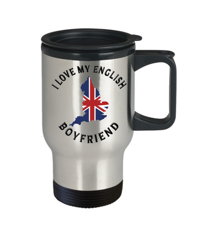 I Love My English Boyfriend Travel Mug With Lid Novelty Birthday Gift Coffee Cup